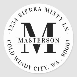 Elegant White Monogram Circular Return Address Classic Round Sticker