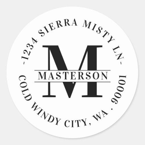 Elegant White Monogram Circular Return Address Classic Round Sticker