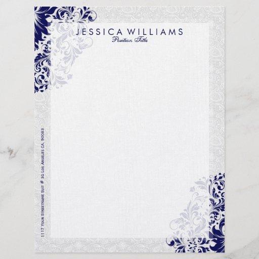 Elegant White & Navy Blue Floral Lace Letterhead
