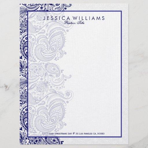 Elegant White & Navy Blue Floral Paisley Lace Letterhead