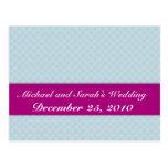 Elegant white octagonal pattern on rough light blu postcard