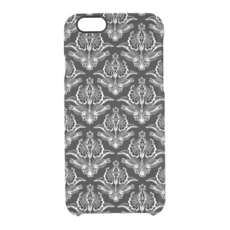 Elegant White On Black Art-Deco Floral Damasks Clear iPhone 6/6S Case