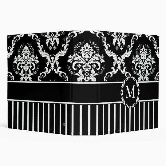 Elegant White on Black Damask 3 Ring Binder