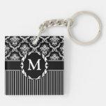 Elegant White on Black Damask Acrylic Keychain