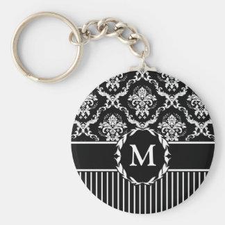 Elegant White on Black Damask Basic Round Button Keychain