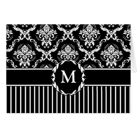 Elegant White on Black Damask Card