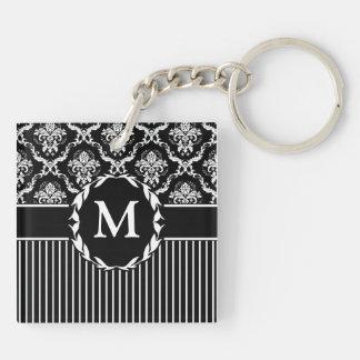 Elegant White on Black Damask Double-Sided Square Acrylic Keychain