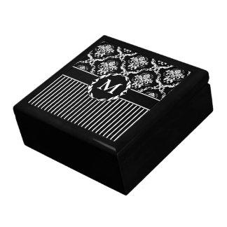 Elegant White on Black Damask Trinket Box