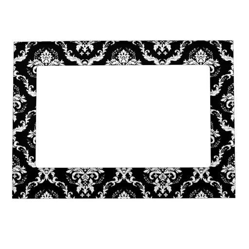 Elegant White on Black Damask Frame Magnet