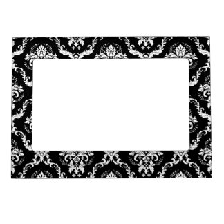 Elegant White on Black Damask Magnetic Picture Frame