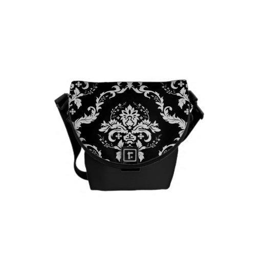 Elegant White on Black Damask Messenger Bag