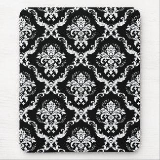 Elegant White on Black Damask Mouse Pad