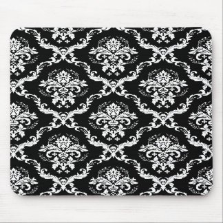 Elegant White on Black Damask Mouse Pads