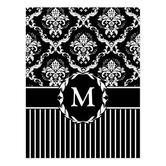 Elegant White on Black Damask Postcard