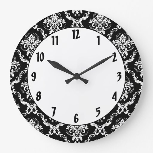 elegant white on black damask round wall clocks zazzle