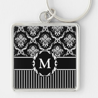 Elegant White on Black Damask Silver-Colored Square Keychain