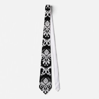 Elegant White on Black Damask Tie