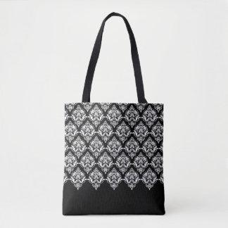 Elegant White On Black Floral Damasks Pattern Tote Bag