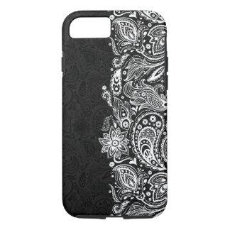 Elegant White On Black  Vintage Paisley Lace iPhone 7 Case