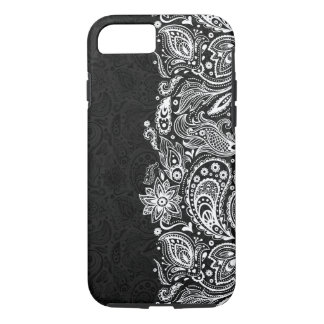Elegant White On Black  Vintage Paisley Lace iPhone 8/7 Case