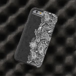 Elegant White On Black  Vintage Paisley Lace Tough iPhone 6 Case