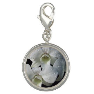 Elegant White Orchid Floral Photo Charms