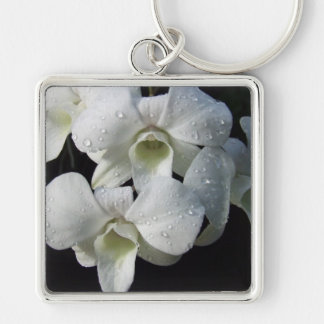 Elegant White Orchid Floral Photo Keychain