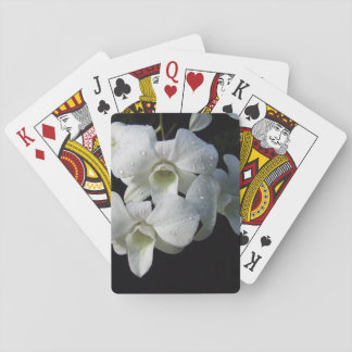 Elegant White Orchid Floral Photo Playing Cards
