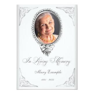 Elegant White Order of Service Mourning Cards