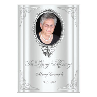 Elegant White Order of Service Mourning Cards Announcements