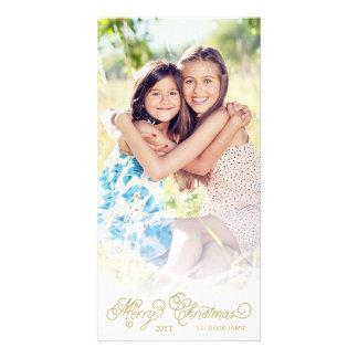 Elegant White Overlay Christmas Photo Card
