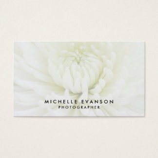 Elegant White Overlay Professional Photographer Business Card