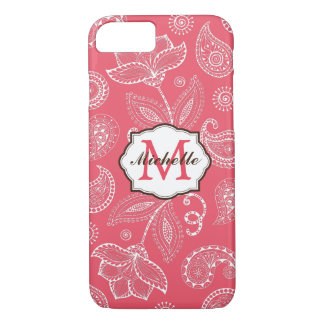 Elegant White Paisley Monogram iPhone 7 Case