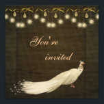 """Elegant White Peacock Christmas Party Invitation<br><div class=""""desc"""">Beautiful, glamorous and classy gold and brown Christmas party invites with an elegant white peacock, pretty gold sparkle hanging ornaments and bows. Chic, stylish, modern festive invitations with a romantic vintage elegance feel suitable for all your holiday corporate and family events. All text is fully customizable to meet your needs....</div>"""