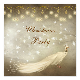Elegant White Peacock Classy Christmas Party Card