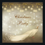"""Elegant White Peacock Classy Christmas Party Invitation<br><div class=""""desc"""">Beautiful classy gold and brown Christmas party invites with an elegant white peacock, pretty gold sparkle hanging ornaments, bows and white snowflakes. Chic, stylish, modern festive invitations with a romantic vintage elegance feel suitable for all your holiday family or corporate events. All text is fully customizable to meet your needs....</div>"""