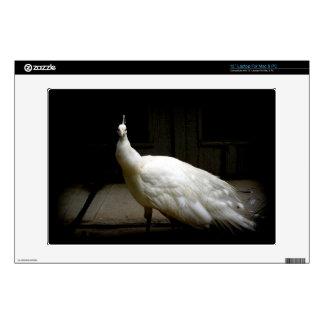 "Elegant white peacock vintage nature bird photo 13"" laptop skins"