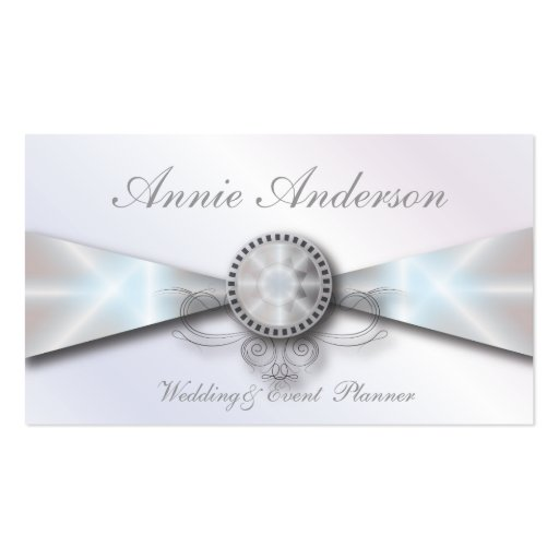 Elegant White pearl Wedding planner business cards