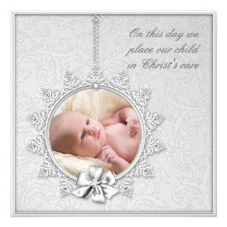 Elegant White Photo Christening Card