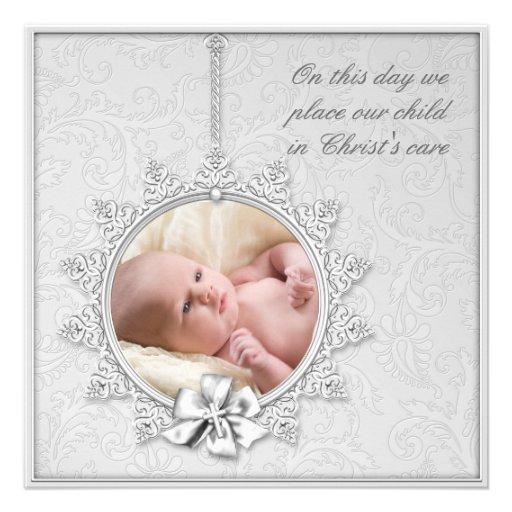 Elegant White Photo Christening Custom Invitation