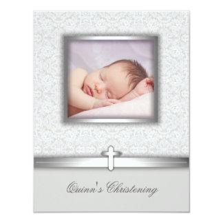 """Elegant White Photo Christening Invitations 4.25"""" X 5.5"""" Invitation Card"""