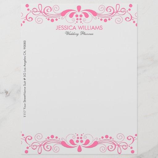 Elegant White & Pink Floral Lace Letterhead