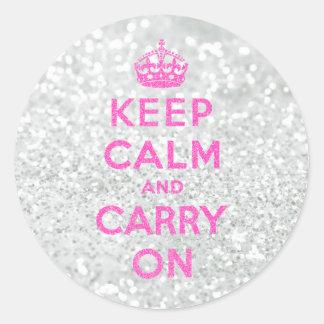 Elegant White Pink Keep Calm Glitter Photo Print Round Stickers