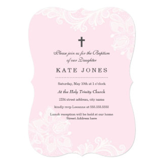 Elegant White Pink Lace baptism Invitation