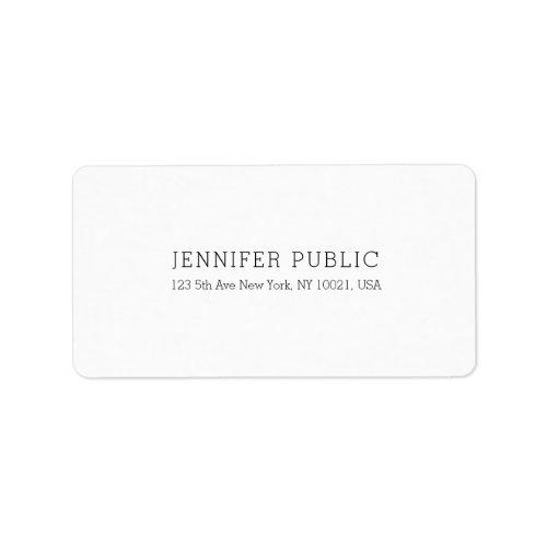 Elegant White Professional Simple Modern Template Label