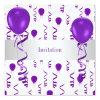 Elegant White Purple Balloon Special Party Event Card