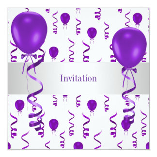 Elegant White Purple Balloon Special Party Event Announcements