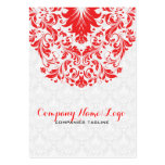 Elegant White & Red Damasks & Lace Business Card Template
