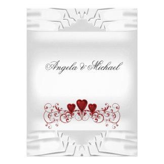 Elegant White Red Hearts Big Wedding Invitation Custom Invites