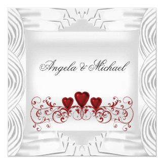 Elegant White Red Hearts Wedding Invitation